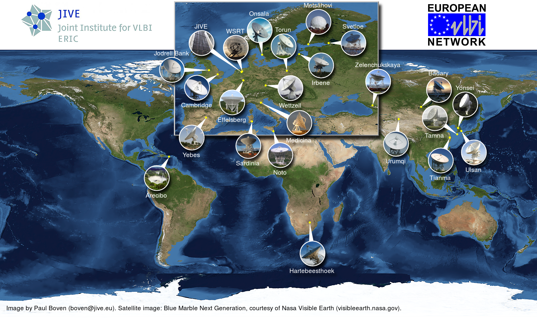 World map of current EVN stations